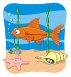 Sea life. Cartoon illustration of sea life Royalty Free Stock Photography