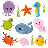 Sea life. Group of marine animals royalty free illustration