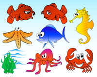 Sea life. Vector illustration of assorted sea creatures Stock Photography