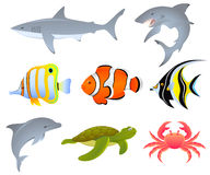 Sea life. A set of sea creatures Royalty Free Stock Image