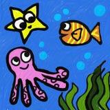 Sea life. Illustration of marine life in the sea Royalty Free Stock Image