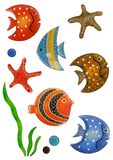 Sea life. A set of fish made of glass,i took photo for each item,then mix them on one white background. Each glass fish or starfish's resolution is original size Royalty Free Stock Photo