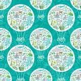 Sea life air baloon pattern. Seamless summer sea animals texture tiling pattern background Vector Illustration