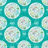 Sea life air baloon pattern Royalty Free Stock Photos