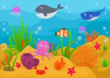 Sea life animal cartoon. Illustration of Sea life animal cartoon Royalty Free Stock Image