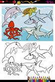 Sea life animals cartoon coloring book. Coloring Book or Page Cartoon Illustration of Black and White Funny Sea Life Animals and Fish Characters for Children Royalty Free Stock Photos