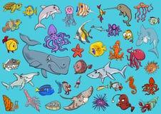 Sea life animals cartoon set. Cartoon Illustrations of Sea Life Animals and Fish Characters Group Stock Photography