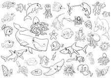 Sea life animals coloring page. Black and White Cartoon Illustrations of Sea Life Animals and Fish Characters Group Coloring Page Royalty Free Stock Photos
