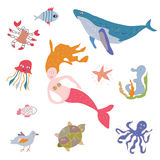 Sea life animals and mermaid set Royalty Free Stock Photography