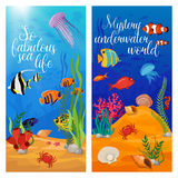 Sea Life Animals Plants Banner Set. Two vertical sea life animals plants banner set with fish and titles vector illustration Royalty Free Stock Image