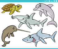 Sea life animals set cartoon illustration Stock Photography