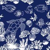 Sea life art. Seamless vector pattern. Stock Image