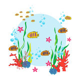 Sea life background. Sea life cartoon with fish and ocean inhabitants. Print for children. Background for kids Stock Image