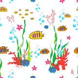 Sea life background. Sea life cartoon with fish and ocean inhabitants seamless pattern. Print for children. Background for kids Stock Image