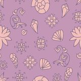 Sea life background. Seamless underwater pattern. Hand drawn vector illustration. Seashells and doodle elements. Pink colors. stock illustration