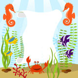 Sea life card. Marine life card with sea animals Stock Photography