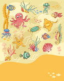 Sea life card yellow Stock Image