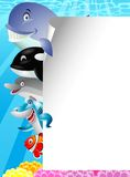 Sea life cartoon with blank sign Royalty Free Stock Images