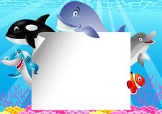 Sea life cartoon with blank sign Stock Photography