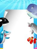 Sea life cartoon with blank sign Stock Photos