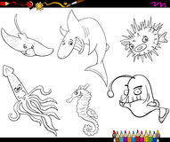 Sea life cartoon coloring page Royalty Free Stock Image