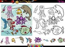 Sea life cartoon coloring page set Royalty Free Stock Photo