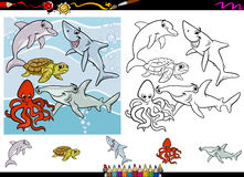 Sea life cartoon coloring page set. Cartoon Illustrations of Funny Sea Life Animals Characters Group for Coloring Book with Elements Set Royalty Free Stock Photos
