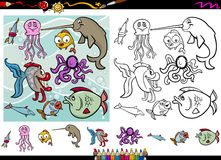 Sea life cartoon coloring page set. Cartoon Illustrations of Funny Sea Life Animals Characters Group for Coloring Book with Elements Set Royalty Free Stock Photo