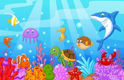 Sea life cartoon with fish collection set Royalty Free Stock Photos