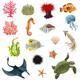 Sea Life Cartoon Icons Set Stock Image