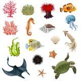 Sea Life Cartoon Icons Set Stock Image