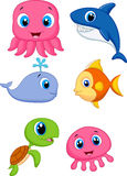 Sea life cartoon set royalty free illustration