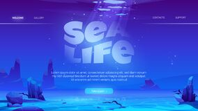 Free Sea Life Cartoon Web Page With Ocean Underwater Royalty Free Stock Images - 216101389