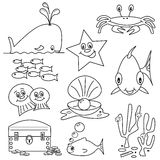 Sea Life Cartoons. Selection of sea life clip art cartoons for colouring book Royalty Free Stock Image