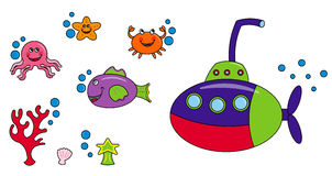 Sea life characters. Group of marine animals, coral, shell and a submarine in a funny cartoon style Stock Photography