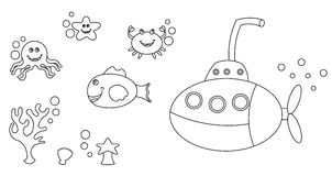 Free Sea Life Characters Colouring Royalty Free Stock Photos - 15044358