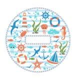 Sea life circle icon  on white Stock Photography