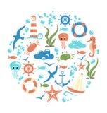 Sea life circle icon  on white Royalty Free Stock Photography