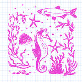 Sea life collection. Original hand drawn illustration Stock Images