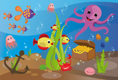Sea life. Colorful background with a sea life Stock Images