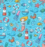 Sea life colorful vector seamless pattern Stock Photo