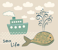 Sea life composition with big whale and steamship Royalty Free Stock Photography