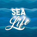 Sea life conceptual poster Stock Images