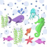 Sea life cute marine animals vector illustration