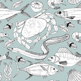 Sea life doodle in lines. Stock Photography