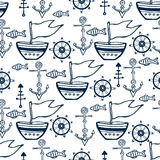 Sea life doodle set. Nautical sketch collection with ship, dolphin, shells, fish anchors and helm Stock Images