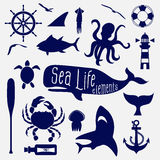 Sea life element,icon set Royalty Free Stock Photography