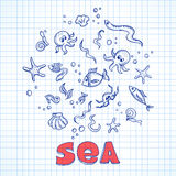 Sea life elements Stock Photo