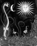 Sea Life Fantasy on Black Stock Image