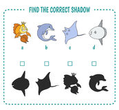 Sea life. Find the right shadow image. Educational games for kids. Sea life Stock Photography